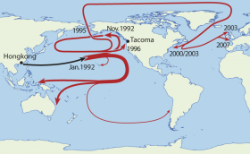 The various routes the spilled rubber ducks took back in 1992.