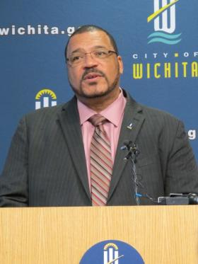 Wichita Mayor Carl Brewer speaking to the media Wednesday at City Hall.