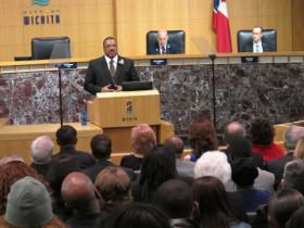 Wichita Mayor Carl Brewer delivers his 2013 State of the City address to a crowd at City Hall Tuesday evening.