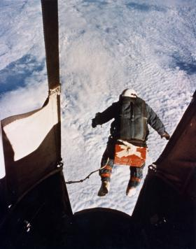 A famous image of Joe Kittenger's jump from 102,000 feet.