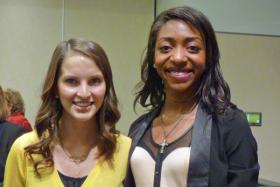 Reegan Innes, left, and Amanda Johnson are winners of the 2013 Harry Gore Memorial Scholarships. They will each receive $52,000 to attend Wichita State.