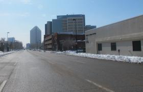 Streets are mostly clear in downtown Wichita not long after record snowfall, on Tuesday, Feb. 26.