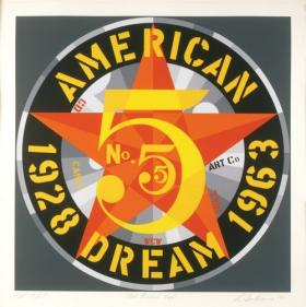 Robert Indiana, American Dream #5, 1980. Screenprint. Collection of the Jordan Schnitzer Family Foundation © 2012 Morgan Art Foundation/Artist Rights Society (ARS), New York. Image courtesy Wichita Art Museum.