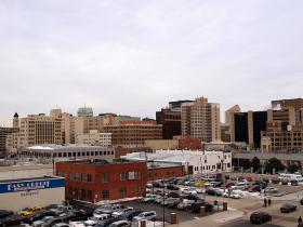 Looking toward downtown Wichita from Intrust Bank Arena.