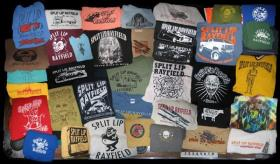 An array of Split Lip Rayfield T-shirts that have been for sale through the years.