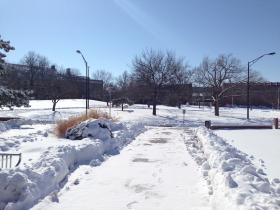 "Winter storm ""Q"" blanketed the Wichita State University Campus with snow."