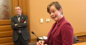 KNEA President Karen Godfrey speaking to reporters Thursday.