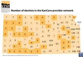 More than 1 in 3 Kansas counties do not have a dentist that will accept the KanCare insurance plan.