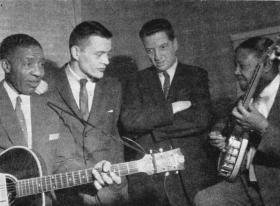 (L to R) Lonnie Johnson, Chris Albertson, John H. Hammond, Elmer Snowden