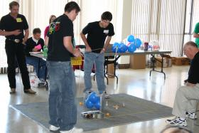"Students participate in the ""Robot Ramble"" at a previous Kansas Science Olympiad."