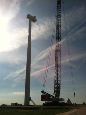 Construction of the wind turbines on FHSU's campus.