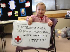 Landon Freund received 10 blood transfusions after being diagnosed with ulcerative colitis.