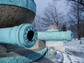 One of the cannons engraved with Civil War battles' names on the Battle Monument at West Point