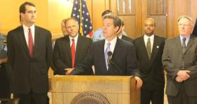 Gov. Brownback during a ceremony announcing the special session.