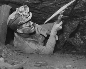 This photo of a Kansas coal miner from the '40s or '50s was donated to the society in 1966 by the Kansas Department of Economic Development.