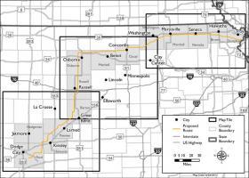 Proposed Grain Belt Express route through Kansas.