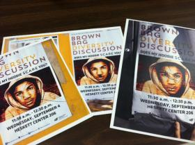 Promotional posters featuring a photo of Trayvon Martin were recently defaced on the WSU campus.