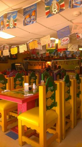 The décor inside Los Reyes is cheerful and kid-friendly