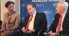 Former Republican Senator Bob Dole speaks while flanked by KU Chancellor Bernadette Gray-Little and Bill Lacy with the Dole Institute.