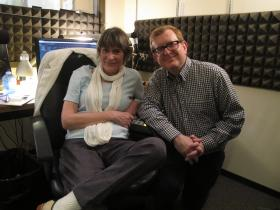 News Director, Aileen LeBlanc and Documentary Director, Steven C. Smith in the KMUW studios.