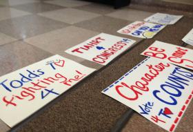 Signs supporting the Todd Tiahrt 2014 campaign are seen on the floor of the Kansas Aviation Museum.
