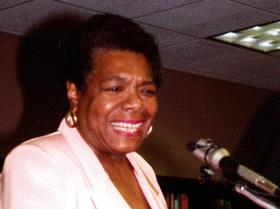Maya Angelou speaking at the Maya Angelou Northeast Branch Library Dedication on December 20, 1996.