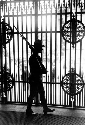 A soldier patrolling the United States–Mexico border, 1916.