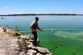 Kyle Ruona, a park ranger from Perry Lake, takes a water sample during blue-green algae training at Milford Lake -  July 9, 2014