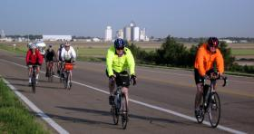 Cyclists in rural Kansas.