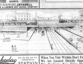 A rendering of the elevated tracks in front of Union Station, circa a 1914 newspaper clipping.