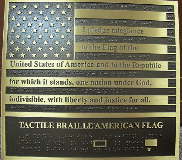 The Braille American flag, ready to be installed at the Robert J. Dole VA Medical Center