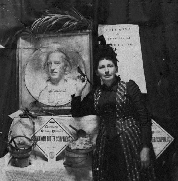Caroline Brooks, an early butter sculptor, at the 1893 Columbian Exposition.