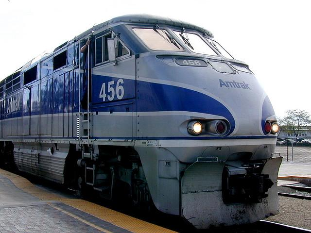 An Amtrak Surfliner passenger rail train.