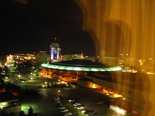 Wichita's Century II at night.