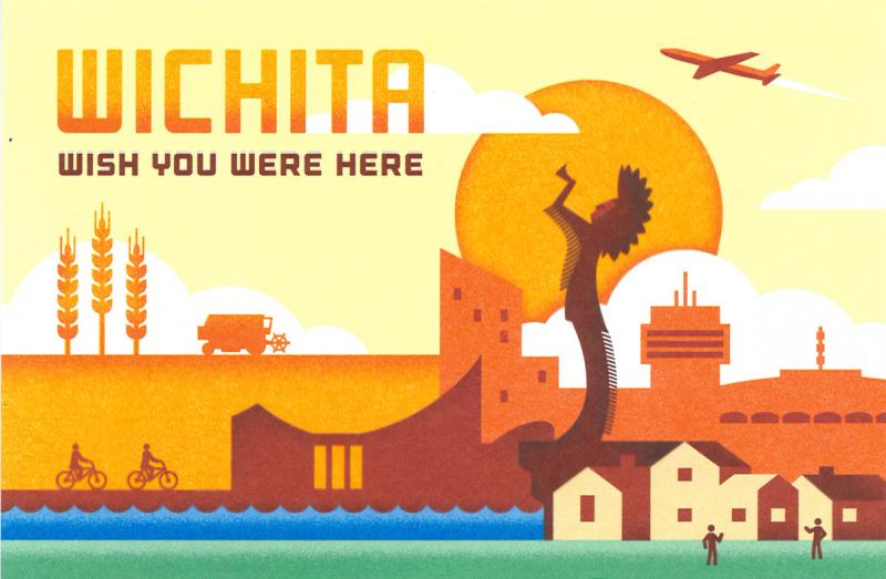 "The postcard designed by the group ""From Wichita, With Love""."