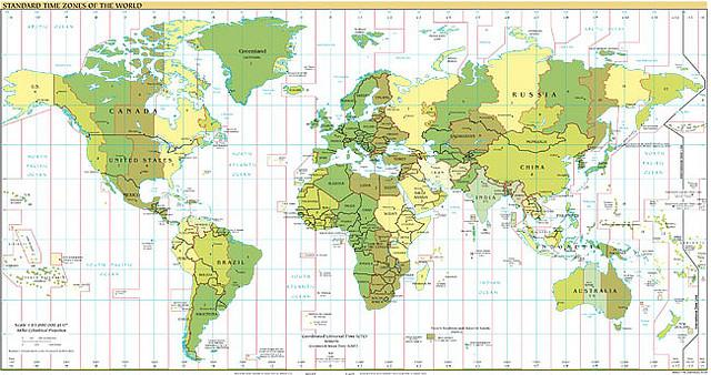 A map of world time zones.