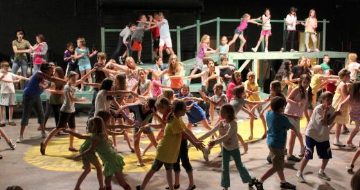 Children rehearse for the Wizard of Oz at the Lawrence Arts Center.