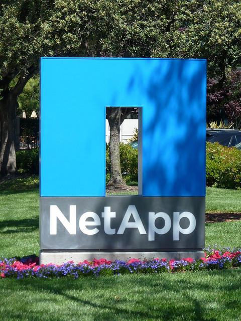 The sign in front of NetApp headquarters in Silicon Valley, California.