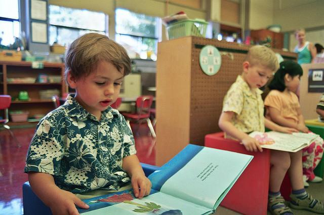 A preschooler reading.