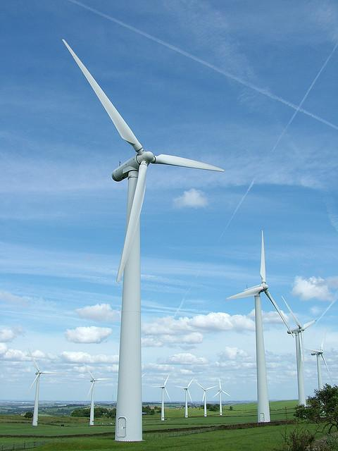 Wind turbines at work.