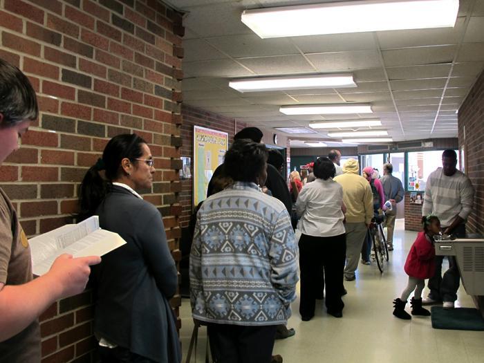 Voters wait in line at Edgemoor Recreation Center.