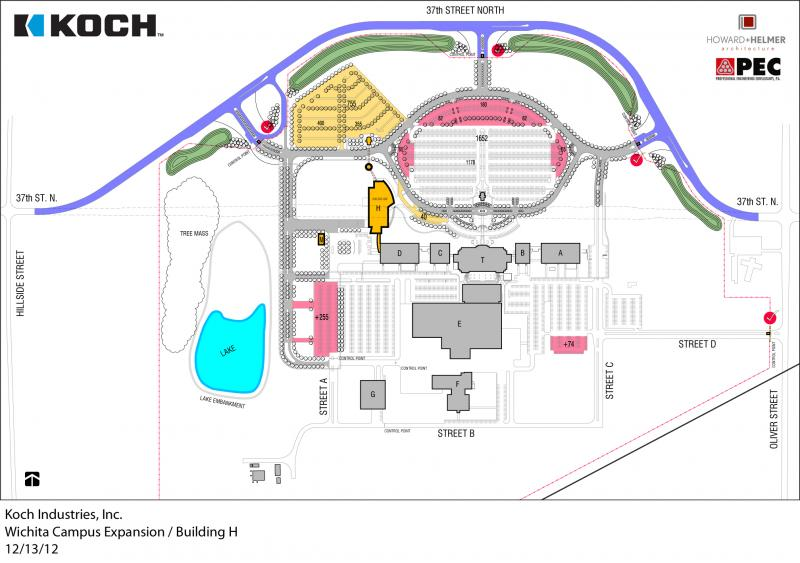 The site plan for the planned expansion at Koch Industries. The new building is labeled 'Building H.'