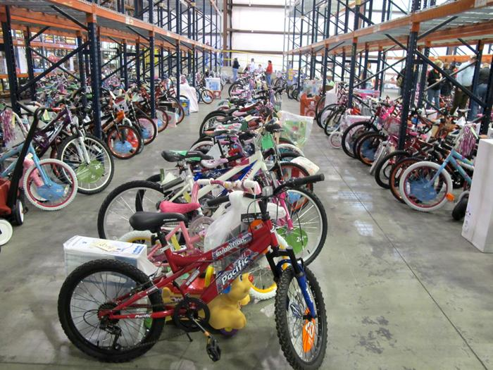 Rows of donated bikes that will be distributed this week.