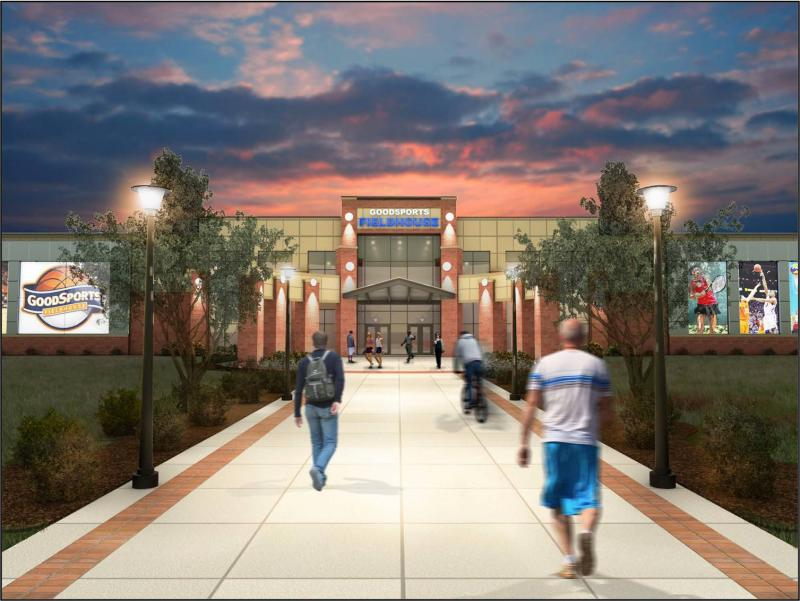 A rendering of the GoodSports Fieldhouse at night.