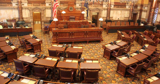 The Senate chambers at the Kansas Statehouse.
