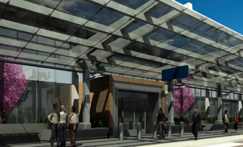 "Illustration of ""glass canopy"" outside the new terminal."