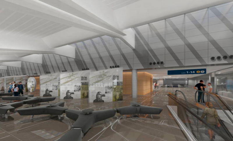 Illustration of meeter/greeter area on the second floor of new terminal.