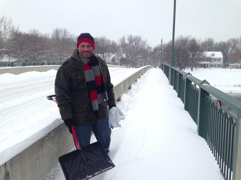 On Nims, Chris Blair was walking to his friend's house to help her dig out.