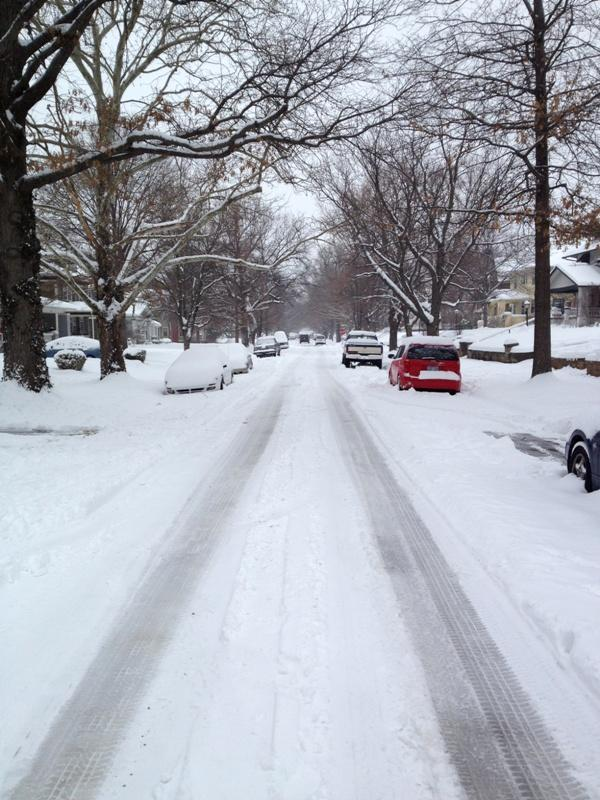 Side street in College Hill where traffic moved fairly easily Thursday afternoon..