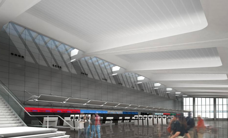Illustration of new ticketing area in the new terminal.
